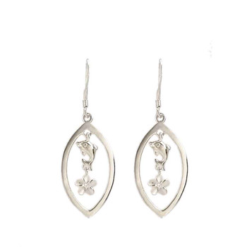 Dolphin dangle sterling silver earrings with hibiscus flowers.