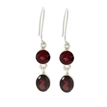 Garnet sterling silver dangle earrings.