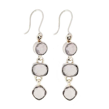 Rose Quartz sterling silver earrings.