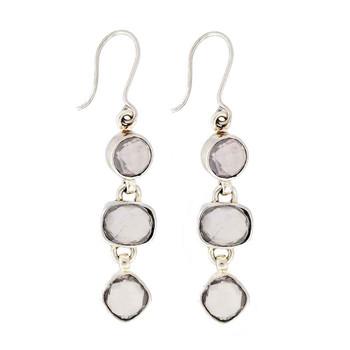 Rose Quartz sterling silver earrings.
