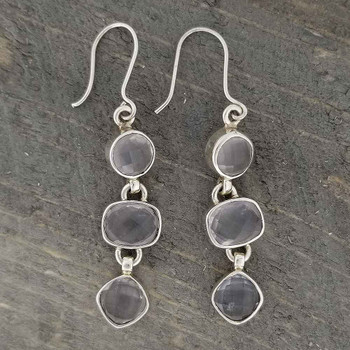 Silver dangle Rose Quartz earrings.