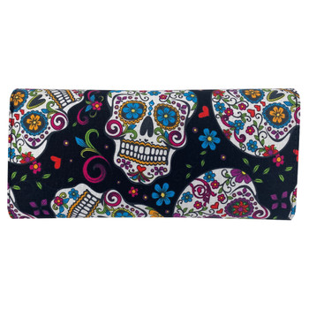 Multi Sugar Skull Trifold Wallet back view