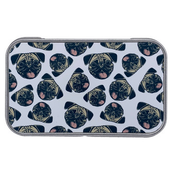 Pug Puppy Dog Faces Small Metal Tin Box