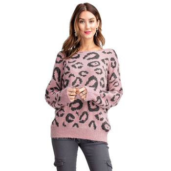 Mauve Leopard Animal Print Pullover Sweater front view