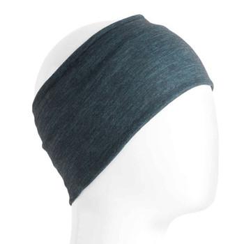 Dark blue headband or bandana.