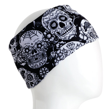 Black and white sugar skull infinity headband bandana.