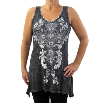 Vocal shark bite cross tunic tank.