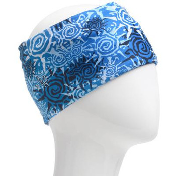 Blue, white and black spiral sun infinity headband.