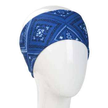 Blue bandana headband.
