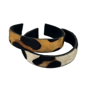 Thin leopard print cuff bracelets.
