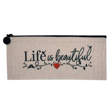 Life Is Beautiful Linen Zippered Pouch Makeup Bag