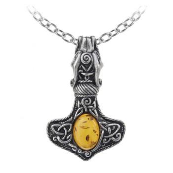 Alchemy Gothic - P728 - Amber Dragon Thorhammer Pendant