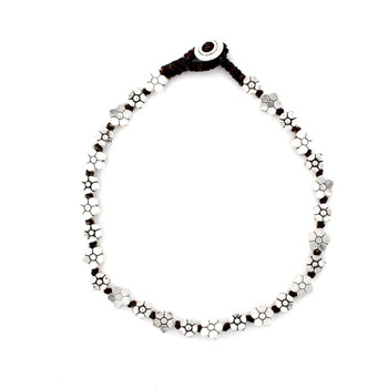 Little flower silver alloy beaded anklet.