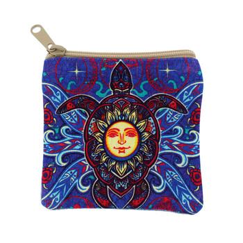 Sea turtle and sun design coin purse.