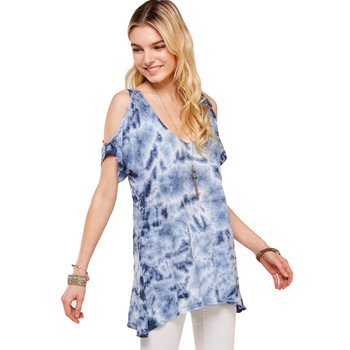 Blue Tie Dye Cold Shoulder Tunic Top side view