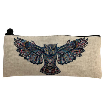 Owl Linen Cosmetic Bag