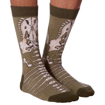 Men's T-Rex Crew Socks front view
