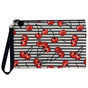 Rockabilly Cherries Linen Cosmetic Makeup Bag