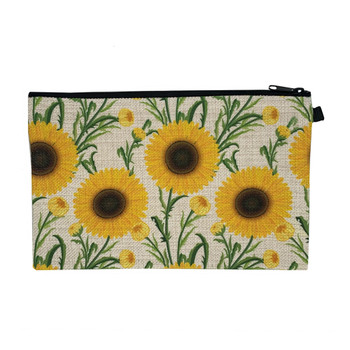 Sunflower Wristlet Cosmetic Makeup Bag back view