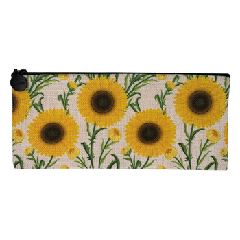 Sunflower Linen Zippered Pouch Makeup Bag