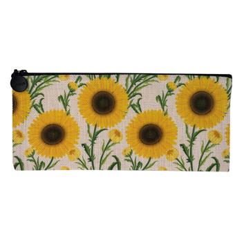 Sunflower Linen Zippered Pouch Makeup Bag