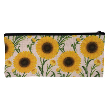 Sunflower Linen Zippered Pouch Makeup Bag back view