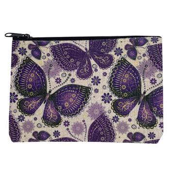 Purple Butterfly Small Linen Zippered Pouch