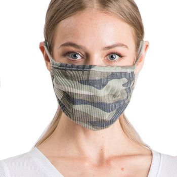 Reusable Camo Ribbed Face Mask