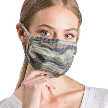 Reusable Camo Ribbed Face Mask front view