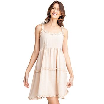 Light Tan Cotton Gauze Tank Dress