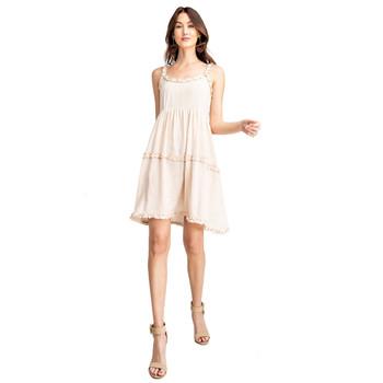 Light Tan Cotton Gauze Tank Dress front view