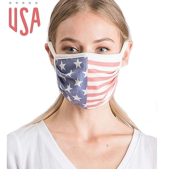 Reusable American Flag stars and stripes ribbed face mask front view