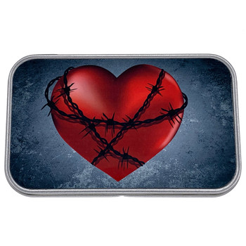 Barbed Wire Heart Small Metal Tin Storage Box