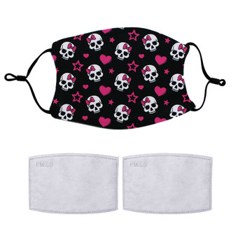 Girly skull and stars design adjustable mask with 2 filters.