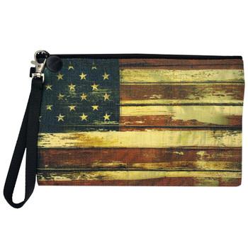 American Flag Wristlet Linen Pouch Makeup Bag