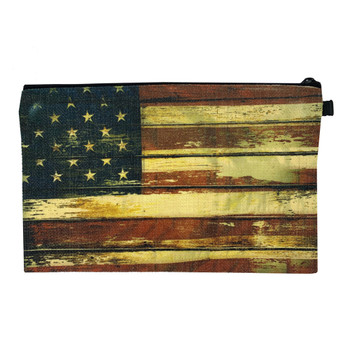 American Flag Wristlet Linen Pouch Makeup Bag back view