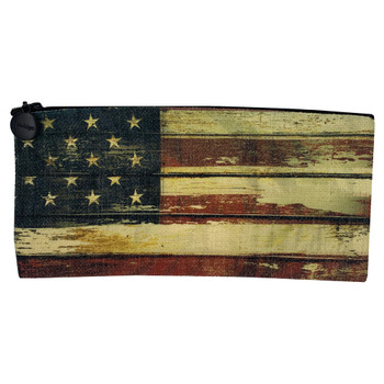 American Flag Linen Zippered Pouch