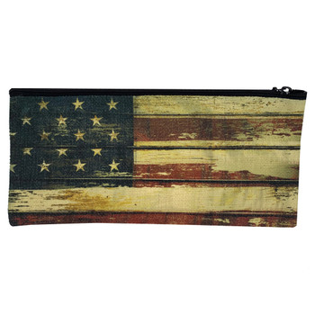 American Flag Linen Zippered Pouch back view