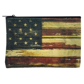 American Flag Small Linen Zippered Pouch