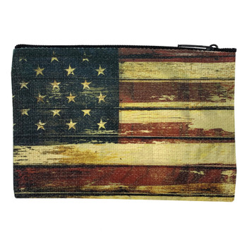 American Flag Small Linen Zippered Pouch back view