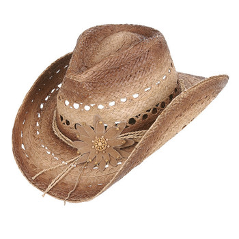 Mallorie cowgirl hat with flower on front.