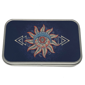 Tribal Moon and Sun Small Metal Tin Storage Box
