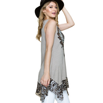 Vocal Apparel Leopard Lace Hem Tunic Tank Top side view