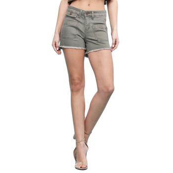 Judy Blue olive green soft brushed denim shorts.