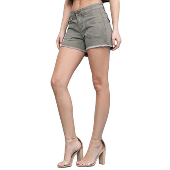 Side view Judy Blue olive green shorts.