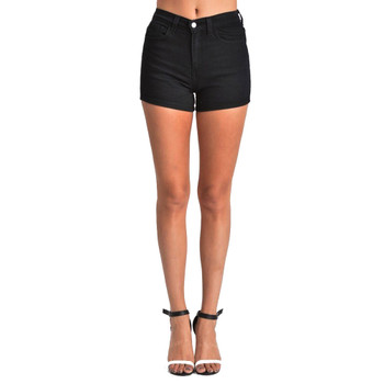 5 pocket Judy Blue stretch black denim shorts.