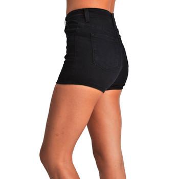 Side view 5 pocket Judy Blue stretch black denim shorts.