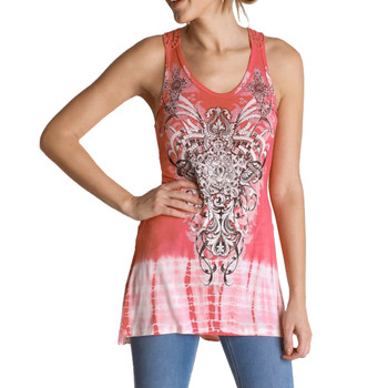 Coral Tie Dye Tunic Tank Top Cover Up