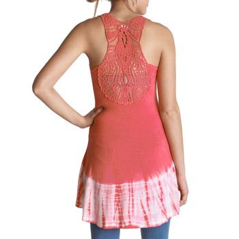Coral Tie Dye Tunic Tank Top Cover Up back view