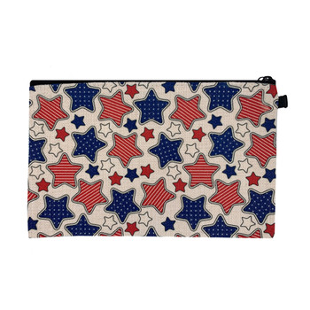 Stars and Stripes Linen Zippered Pouch back view